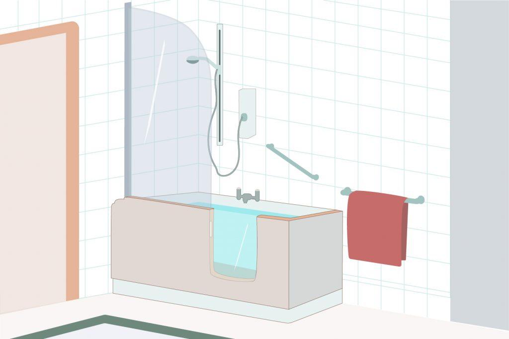 Bathtub-shower with door